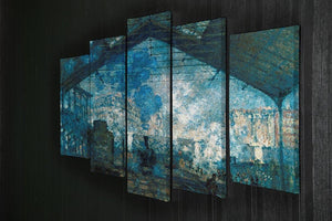 The station Saint Lazare by Monet 5 Split Panel Canvas - Canvas Art Rocks - 2