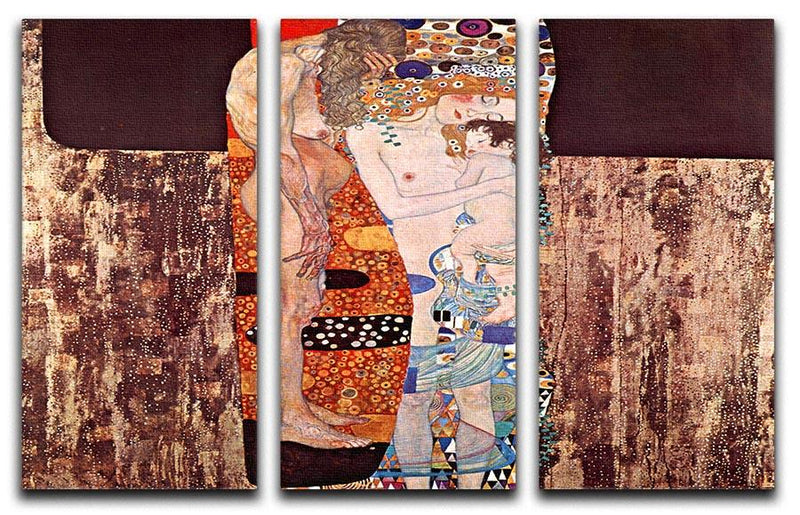 The three ages of a woman by Klimt 3 Split Panel Canvas Print - Canvas Art Rocks - 1