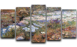 The water garden by Hassam 5 Split Panel Canvas - Canvas Art Rocks - 1