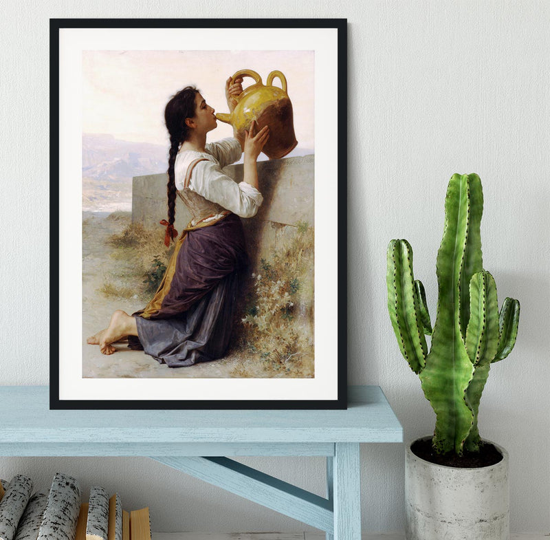 Thirst By Bouguereau Framed Print - Canvas Art Rocks - 1