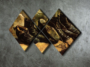 Three Pairs of Shoes by Van Gogh 4 Square Multi Panel Canvas - Canvas Art Rocks - 2