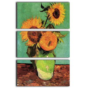 Three Sunflowers in a Vase by Van Gogh 3 Split Panel Canvas Print - Canvas Art Rocks - 1