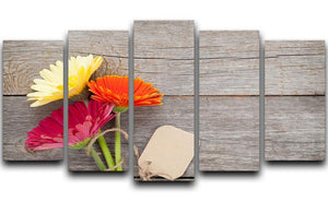 Three colorful gerbera flowers 5 Split Panel Canvas  - Canvas Art Rocks - 1