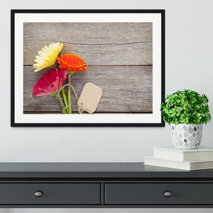 Three colorful gerbera flowers Framed Print - Canvas Art Rocks - 1