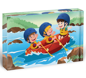 Three happy kids on boat Acrylic Block - Canvas Art Rocks - 1