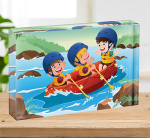Three happy kids on boat Acrylic Block - Canvas Art Rocks - 2