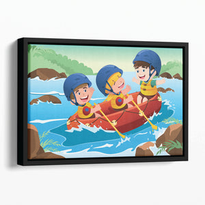 Three happy kids on boat Floating Framed Canvas
