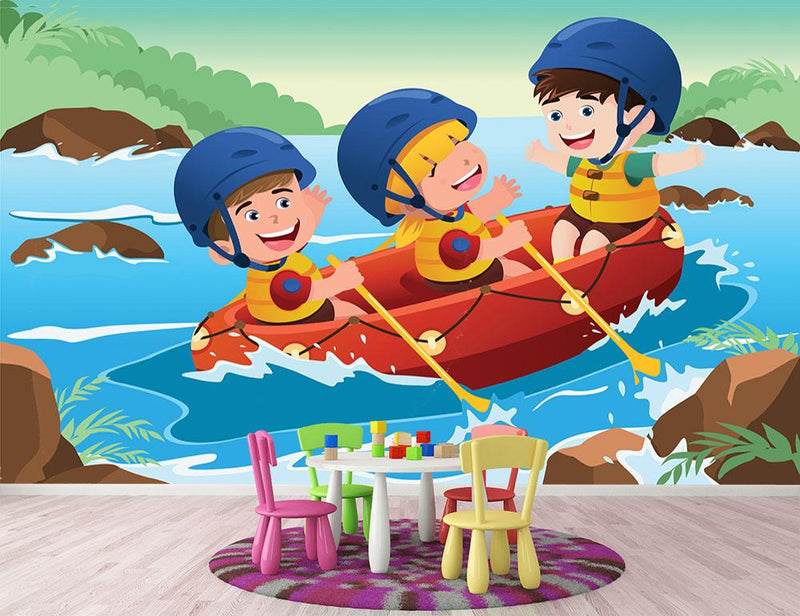 Three happy kids on boat Wall Mural Wallpaper - Canvas Art Rocks - 1