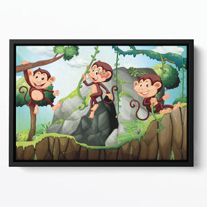 Three monkeys hanging on the branch Floating Framed Canvas