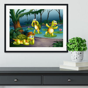Three turtles living in the pond Framed Print - Canvas Art Rocks - 1
