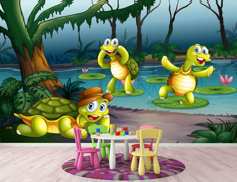 Three turtles living in the pond Wall Mural Wallpaper - Canvas Art Rocks - 1