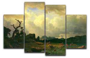 Thunderstorms in the Rocky Mountains by Bierstadt 4 Split Panel Canvas - Canvas Art Rocks - 1