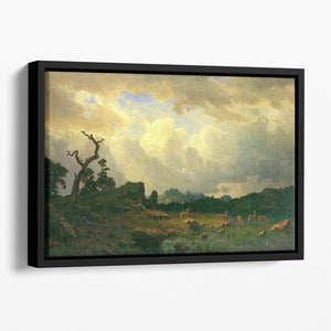 Thunderstorms in the Rocky Mountains by Bierstadt Floating Framed Canvas - Canvas Art Rocks - 1