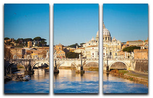 Tiber and St Peter s cathedral 3 Split Panel Canvas Print - Canvas Art Rocks - 1