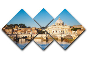 Tiber and St Peter s cathedral 4 Square Multi Panel Canvas  - Canvas Art Rocks - 1