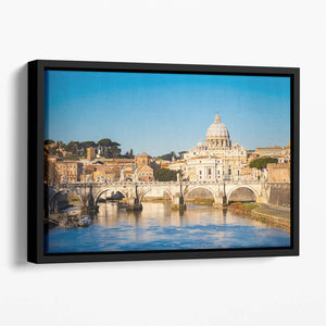 Tiber and St Peter s cathedral Floating Framed Canvas