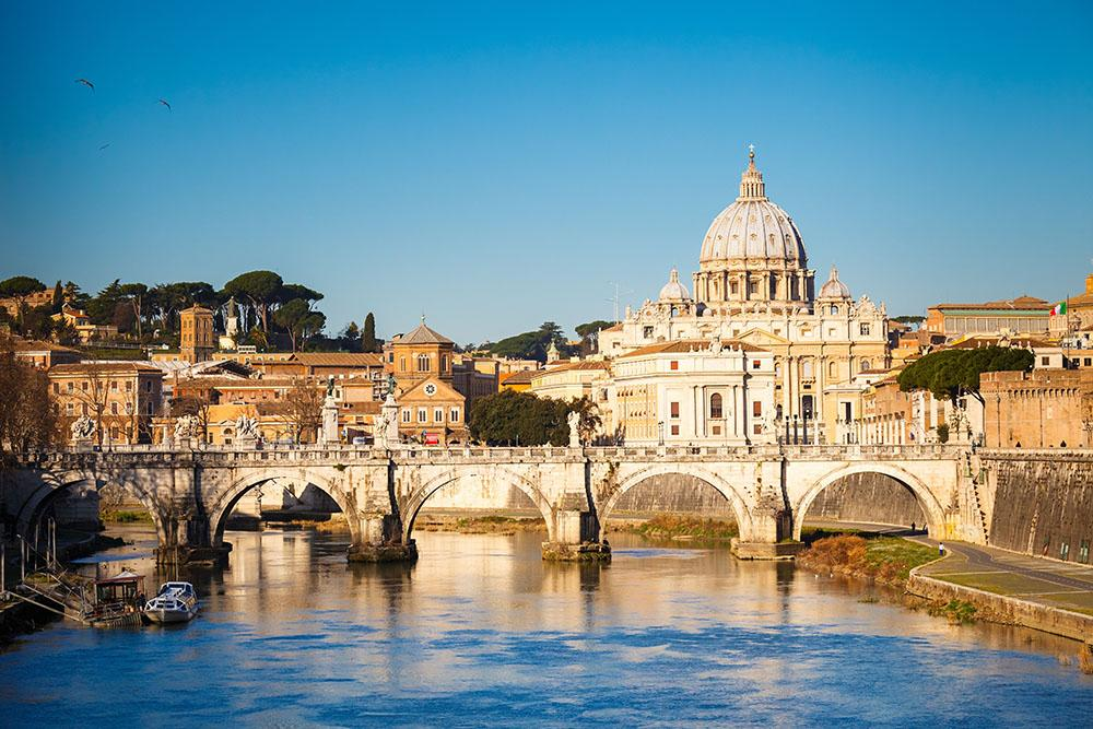 Tiber and St Peter s cathedral Wall Mural Wallpaper Canvas Art Rocks