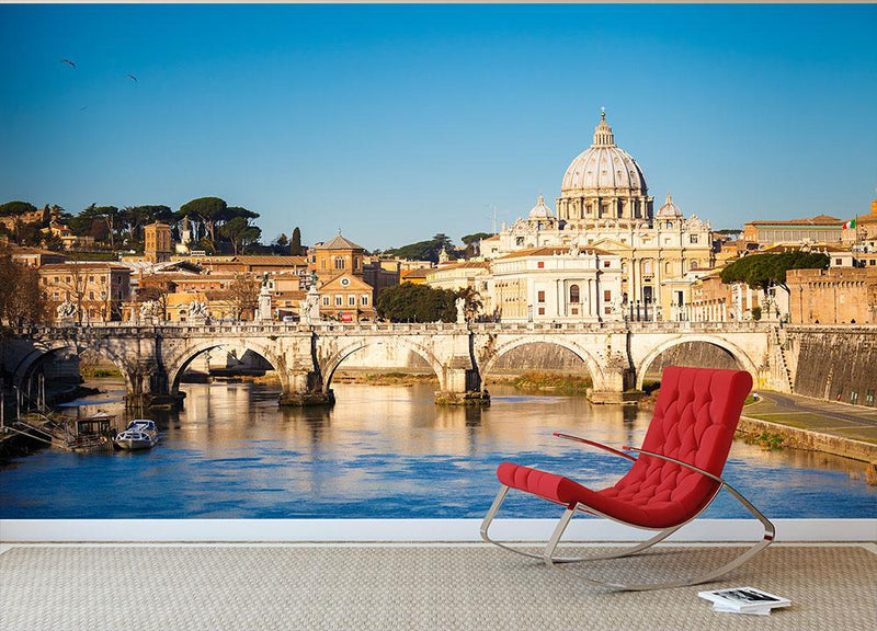 Tiber and St Peter s cathedral Wall Mural Wallpaper - Canvas Art Rocks - 1