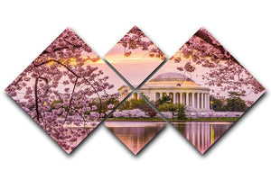 Tidal Basin and Jefferson Memorial cherry blossom season 4 Square Multi Panel Canvas  - Canvas Art Rocks - 1