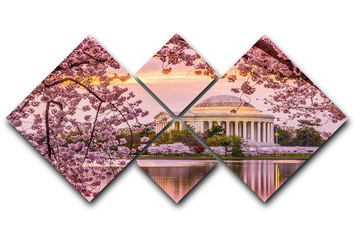 Tidal Basin and Jefferson Memorial cherry blossom season 4 Square Multi Panel Canvas