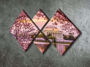 Tidal Basin and Jefferson Memorial cherry blossom season 4 Square Multi Panel Canvas  - Canvas Art Rocks - 2