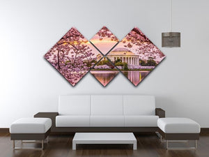 Tidal Basin and Jefferson Memorial cherry blossom season 4 Square Multi Panel Canvas  - Canvas Art Rocks - 3
