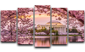 Tidal Basin and Jefferson Memorial cherry blossom season 5 Split Panel Canvas  - Canvas Art Rocks - 1