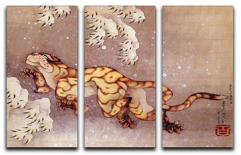 Tiger in the snow by Hokusai 3 Split Panel Canvas Print - Canvas Art Rocks - 1