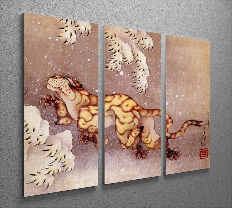 Tiger in the snow by Hokusai 3 Split Panel Canvas Print - Canvas Art Rocks - 2