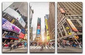Times Square at sunset 3 Split Panel Canvas Print - Canvas Art Rocks - 1