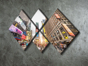 Times Square at sunset 4 Square Multi Panel Canvas  - Canvas Art Rocks - 2