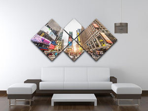 Times Square at sunset 4 Square Multi Panel Canvas  - Canvas Art Rocks - 3