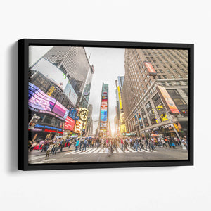 Times Square at sunset Floating Framed Canvas