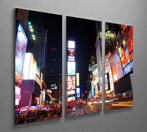 Times Square featured with Broadway Theaters 3 Split Panel Canvas Print - Canvas Art Rocks - 2