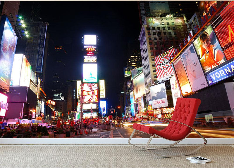 Times Square featured with Broadway Theaters Wall Mural Wallpaper - Canvas Art Rocks - 1