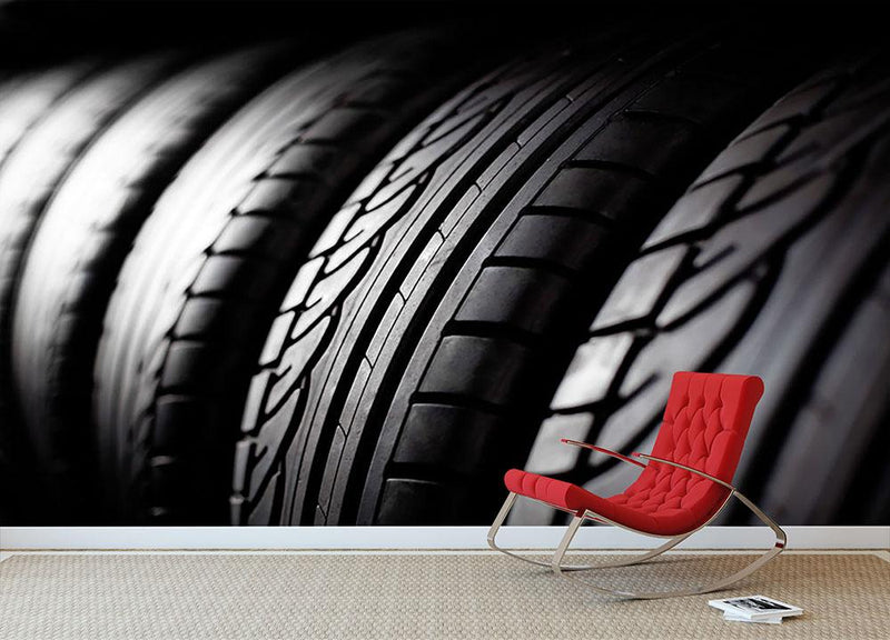 Tire stack background Wall Mural Wallpaper - Canvas Art Rocks - 1