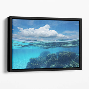 Top half with blue sky and cloud Floating Framed Canvas