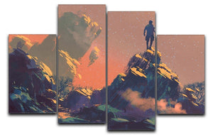 Top of the hill watching the stars 4 Split Panel Canvas  - Canvas Art Rocks - 1