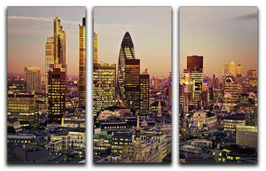 Tower 42 Gherkin Willis Building Stock Exchange Tower 3 Split Panel Canvas Print - Canvas Art Rocks - 1