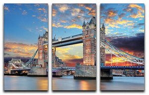 Tower Bridge 3 Split Panel Canvas Print - Canvas Art Rocks - 1