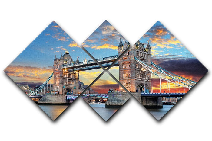 Tower Bridge 4 Square Multi Panel Canvas