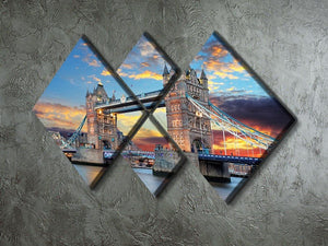 Tower Bridge 4 Square Multi Panel Canvas  - Canvas Art Rocks - 2