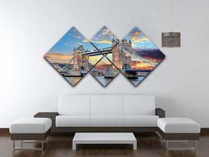 Tower Bridge 4 Square Multi Panel Canvas  - Canvas Art Rocks - 3