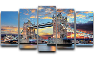 Tower Bridge 5 Split Panel Canvas  - Canvas Art Rocks - 1