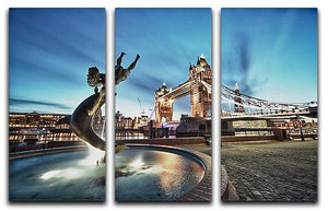 Tower Bridge and St Katharine Docks Girl 3 Split Panel Canvas Print - Canvas Art Rocks - 1