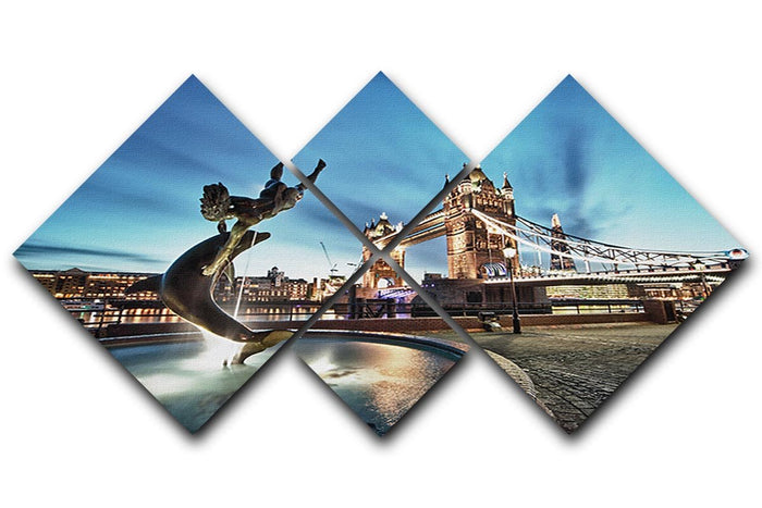 Tower Bridge and St Katharine Docks Girl 4 Square Multi Panel Canvas