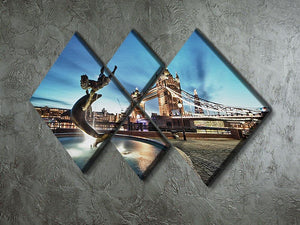 Tower Bridge and St Katharine Docks Girl 4 Square Multi Panel Canvas  - Canvas Art Rocks - 2