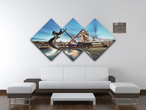 Tower Bridge and St Katharine Docks Girl 4 Square Multi Panel Canvas  - Canvas Art Rocks - 3