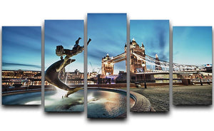 Tower Bridge and St Katharine Docks Girl 5 Split Panel Canvas  - Canvas Art Rocks - 1