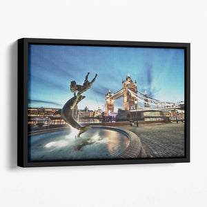 Tower Bridge and St Katharine Docks Girl Floating Framed Canvas